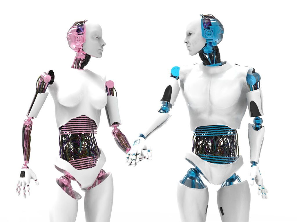 A male and female robot holding hands.